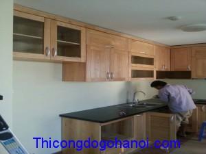 Tủ bếp gỗ sồi TB07
