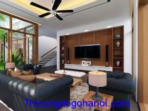Thiết kế nội thất biệt thự phong cách gỗ hiện đại cao cấp