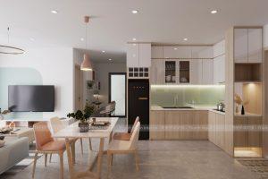 Thiết kế căn hộ 2 PN màu Pastel trong trẻo chỉ 120 triệu đồng