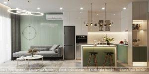 Thiết kế căn hộ 1+1 43m2 tone Xanh Trắng Xám trẻ trung