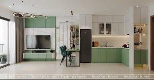 Thiết kế nội thất chung cư căn 1+1 tông xanh trắng Vinhomes Smart City