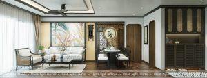 Thiết kế căn hộ 3PN phong cách Indochine tại The Terra An Hưng