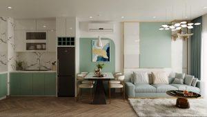 Thiết kế căn hộ 2PN tone xanh trắng dịu mát tại S203 Vinhomes Smart City