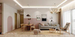 Thiết kế nội thất tone màu hồng hạnh phúc tại Chung cư The Terra An Hưng – Hà Đông